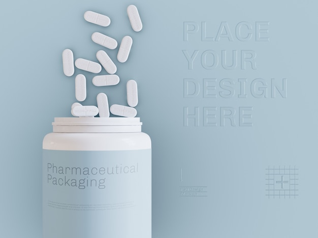 Top view of pill bottle and pills mockup