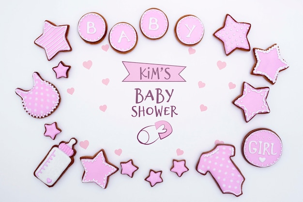 Top view of pink baby shower decorations