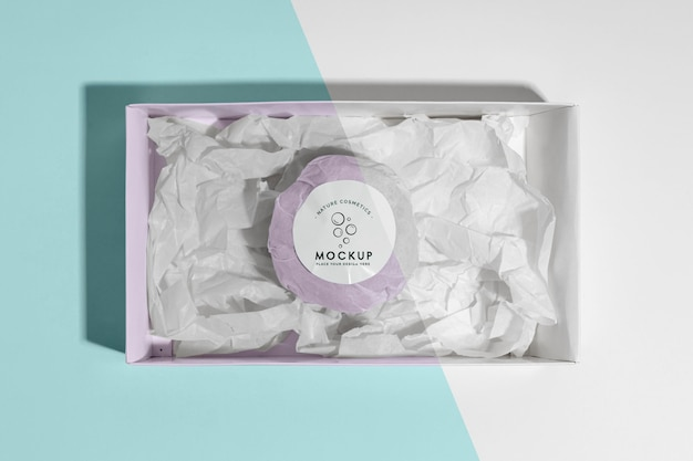 Top view pink bath bomb in box