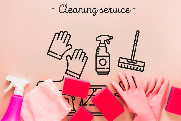 Top view pink cleaning service equipment