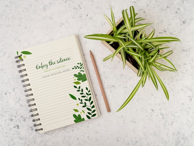 Top view plant surrounded by notepad with mock-up