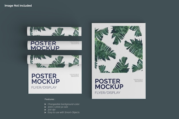 Top view on poster or flyer mockup