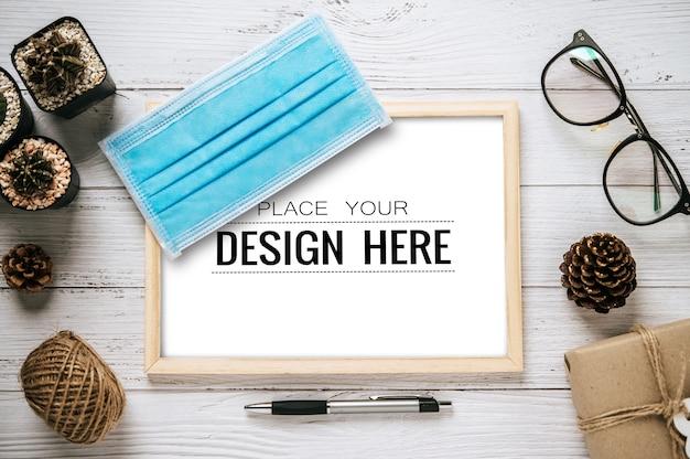 Макет дизайна рамки плаката вид сверху