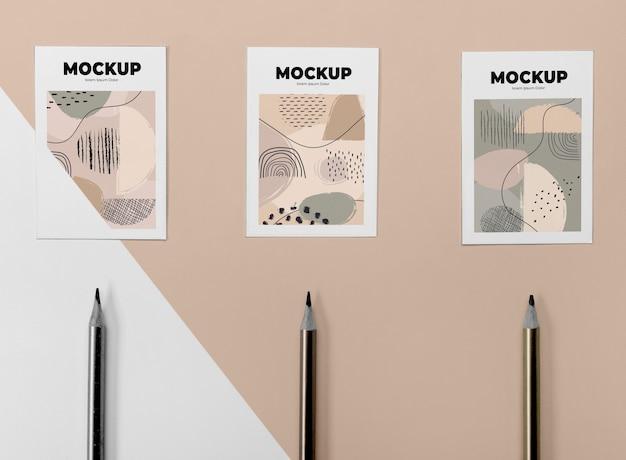 상위 뷰 포스터 모형 및 연필 프리미엄 PSD 파일