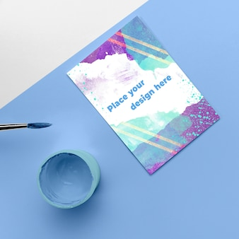 Top view poster mockup and cup