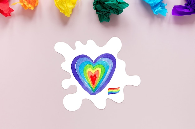 Top view pride day heart draw