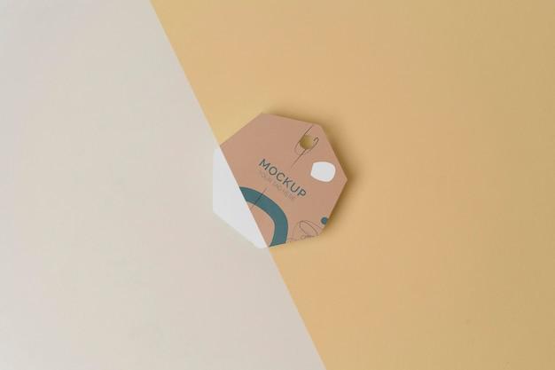 Mock-up del tag del prodotto vista dall'alto