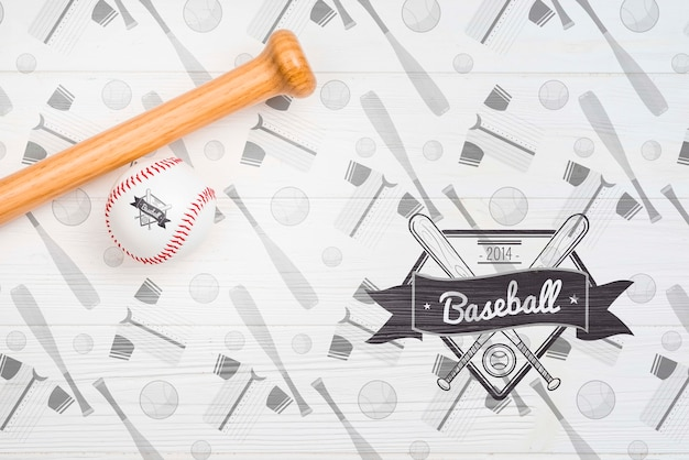 Top view professional baseball bat and ball