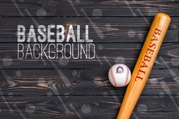 Top view professional baseball bat and ball