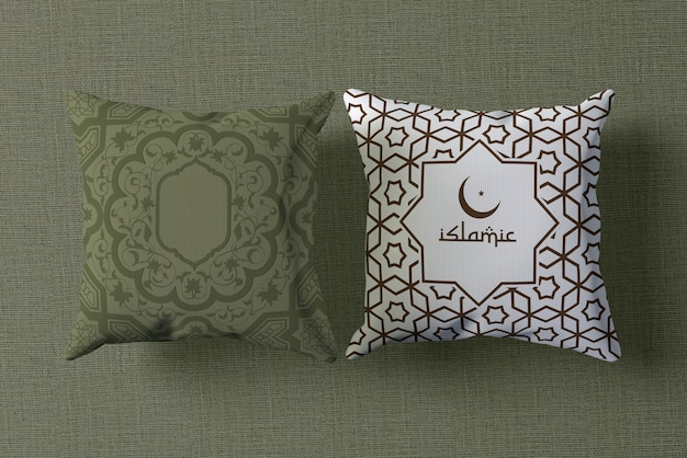 Top view ramadan arrangement mock-up with pillows