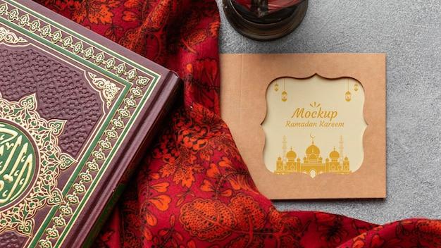 Вид сверху рамадан принт макет