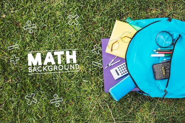 수학 수업 모형에 대한 상위 뷰 준비 무료 PSD 파일