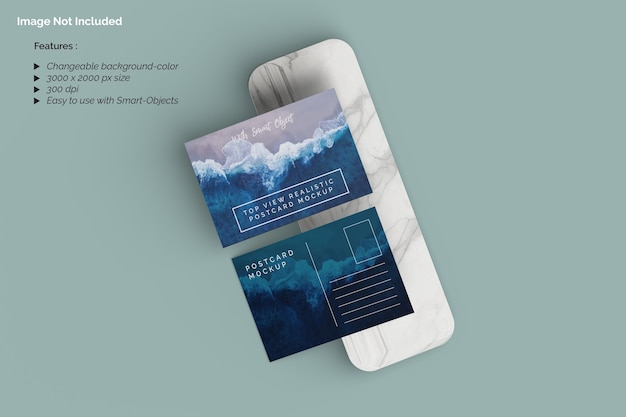 Top view realistic postcard mockup