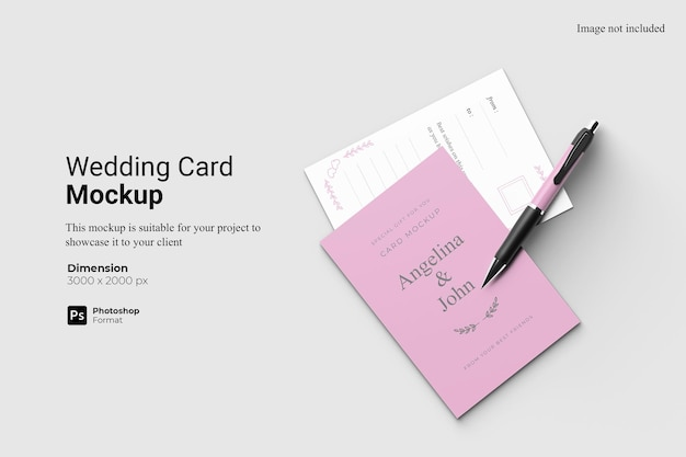 Top view realistic wedding card mockup design isolated