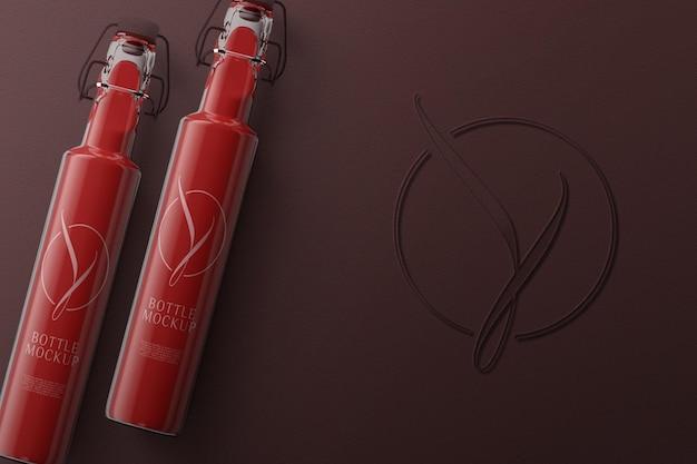 상위 뷰 빨간 병 모형