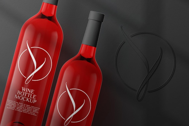 Top view red wine bottle mockup design isolated