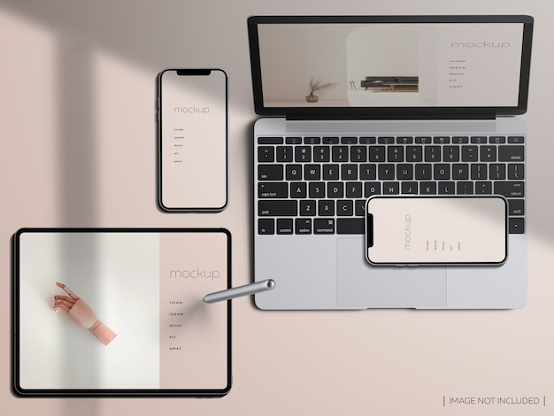 Top view responsive devices screen mockup