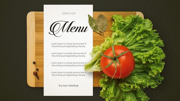 Top view restaurant menu mockup