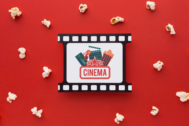 Top view retro film strip and popcorn