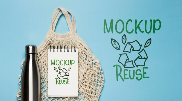 Top view of reusable bag with bottle