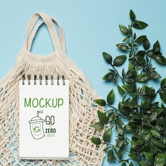 Top view of reusable bag with plant