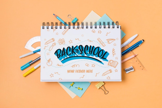 Top view school supplies with mock-up