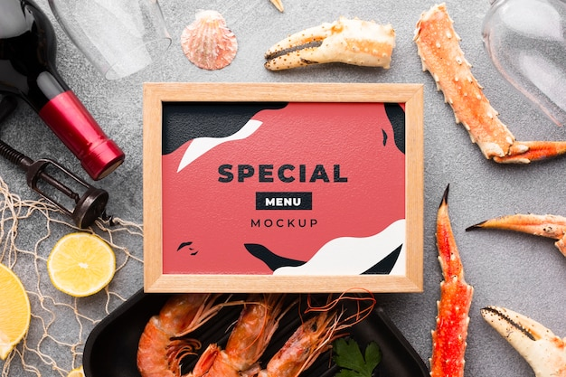 Top view sea food composition with frame mock-up