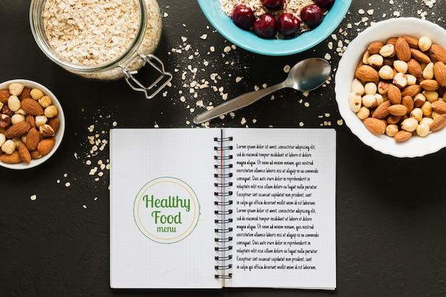 Вид сверху выбор зерновых и орехов концепции