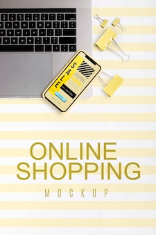 Top view shopping online on laptop and mobile