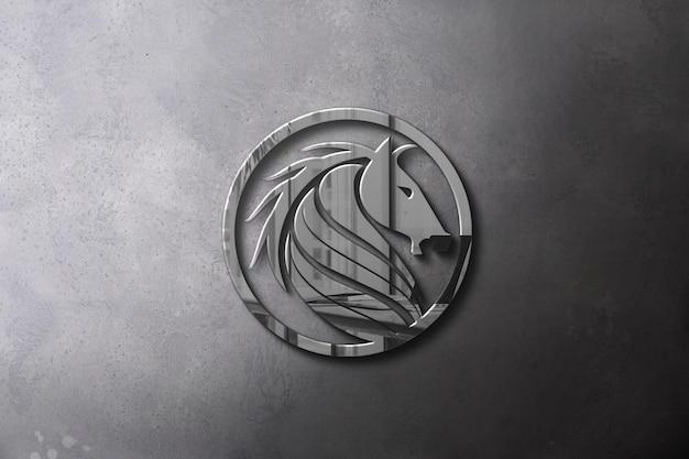 Вид сверху серебряный дизайн макета логотипа