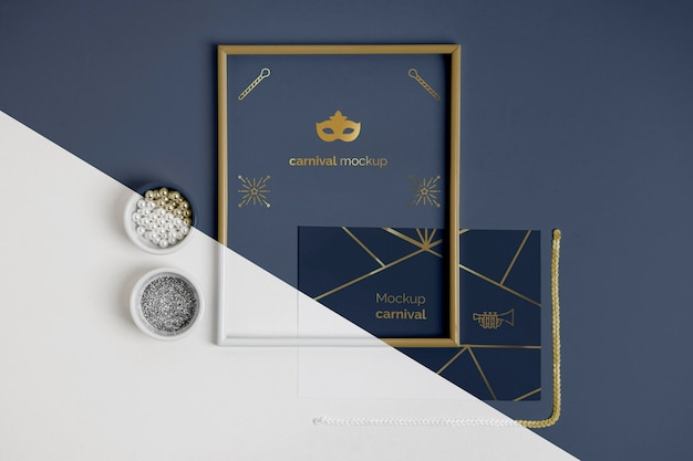 Top view of simplistic carnival invitation with frame and beads