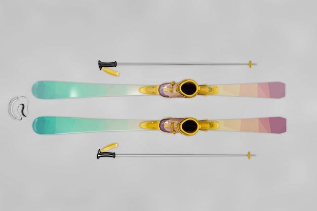 Top view ski mockup