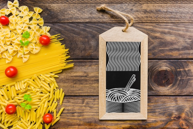 Top view slate mockup with pasta concept