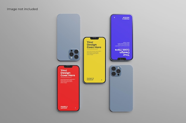 Top view smartphone 13 mockup for showcasing your ui design