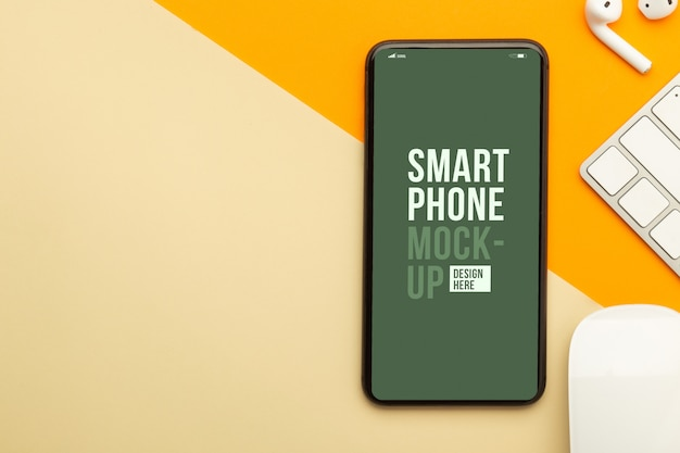 Top view of smartphone interface mockup