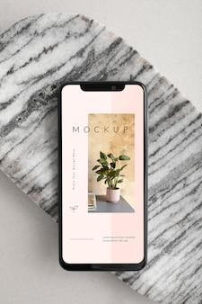 Mockup di smartphone vista dall'alto