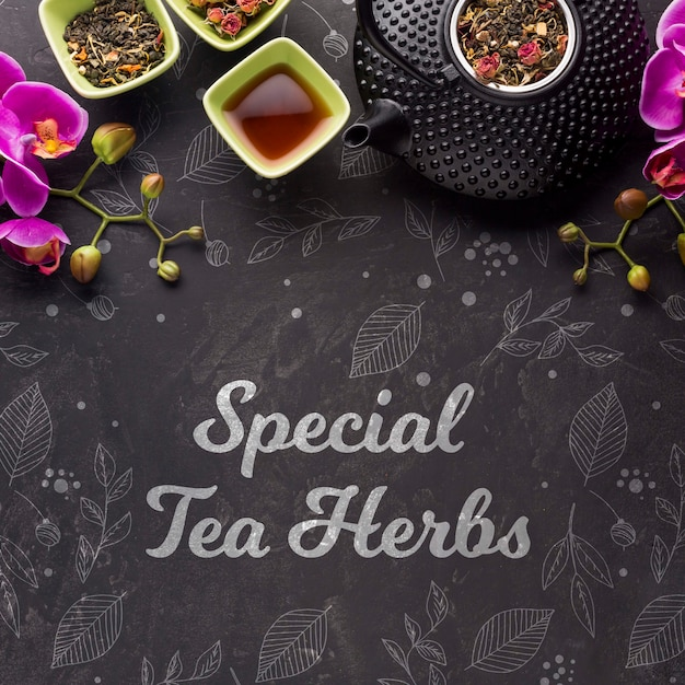 Top view special tea herbs and flowers