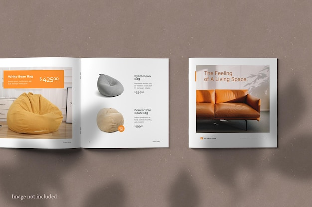 Top view square brochure catalog mockup with shadow overlay