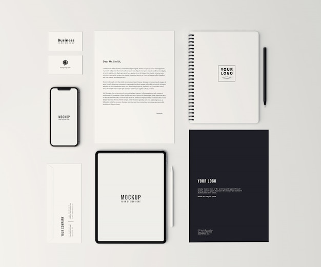 Top view stationary and branding identity mockup