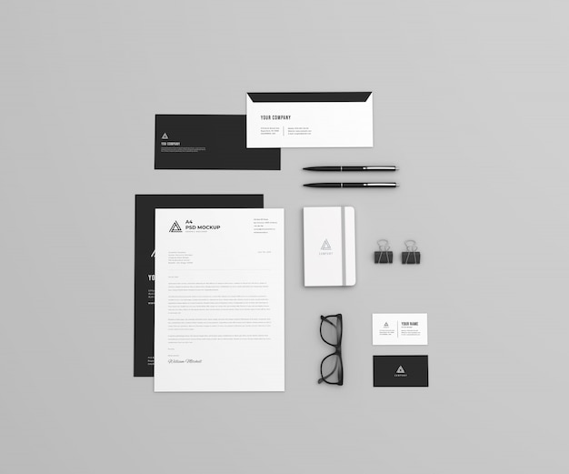 Top view stationary set mockup