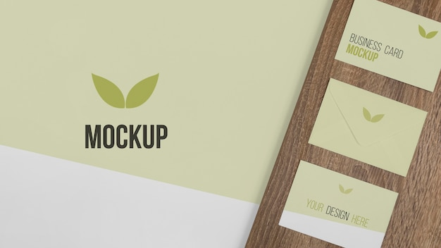 Top view stationery arrangement with wood