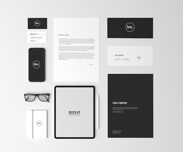 Top view stationery and branding mockup design