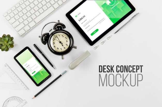 Top view stationery desk concept with mock-up