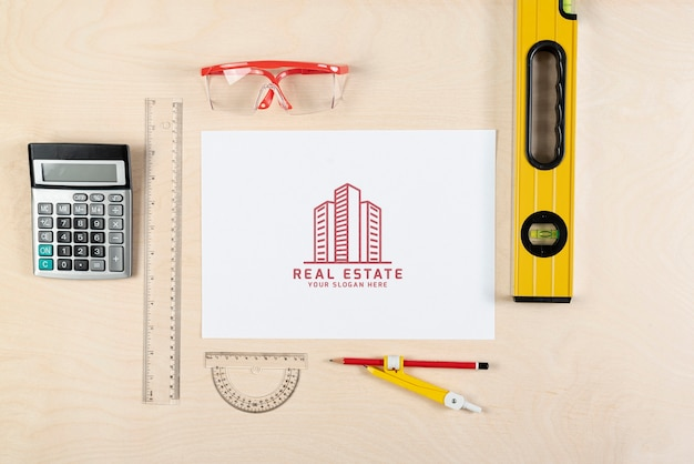 Top view stationery elements for real estate