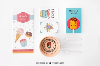 Top view stationery ice cream concept