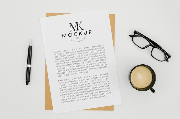 Top view stationery mock-up with paper