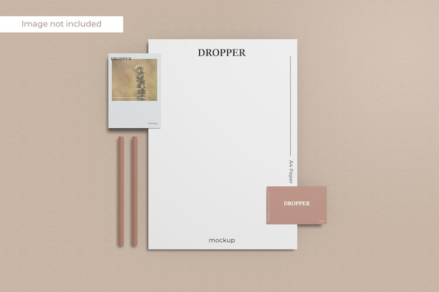 Top view stationery mockup design in 3d rendering