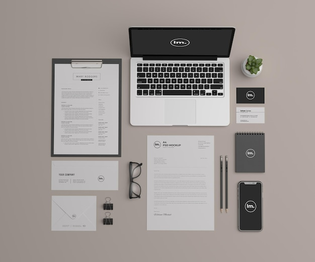 Top view stationery mockup design isolated