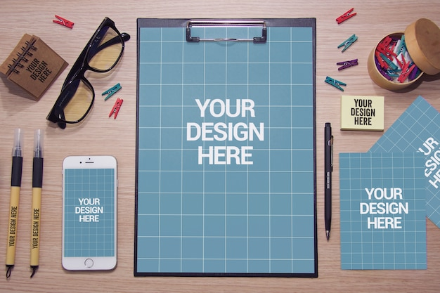 Top view of stationery mockup on desk