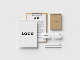 Top view stationery mockup